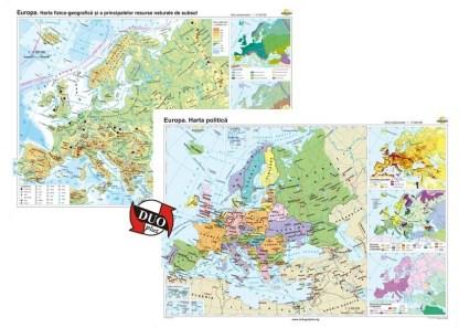 Europa. Harta fizico-geografica si a principalelor resurse naturale de subsol si Europa. Harta politica