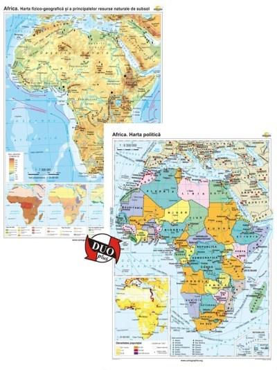 Africa. Harta fizico-geografica si a principalelor resurse naturale de subsol si Africa. Harta politica