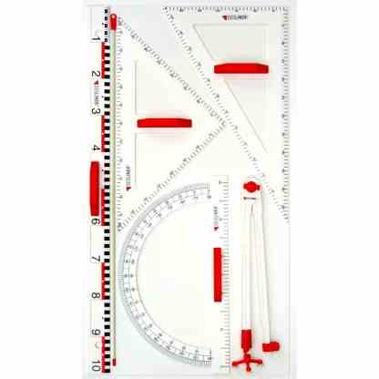 Trusa de instrumente geometrice pentru tabla
