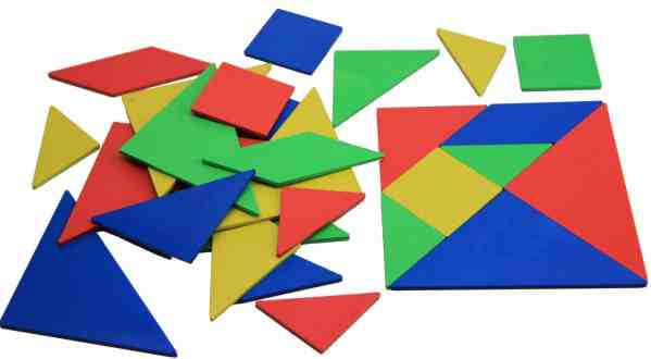 Set Tangram 4 culori, 28 piese 3