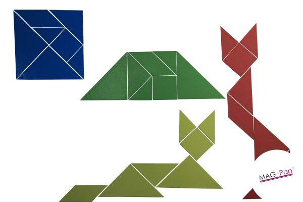 Set Tangram 4 culori, 28 piese Magnetice 7