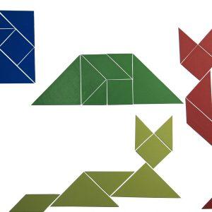Set Tangram 4 culori, 28 piese Magnetice 12