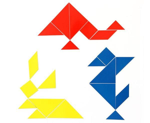 Set Tangram 4 culori, 28 piese Magnetice 2