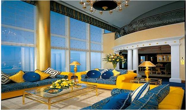 Blue And Yellow Living Room Furniture Modern House