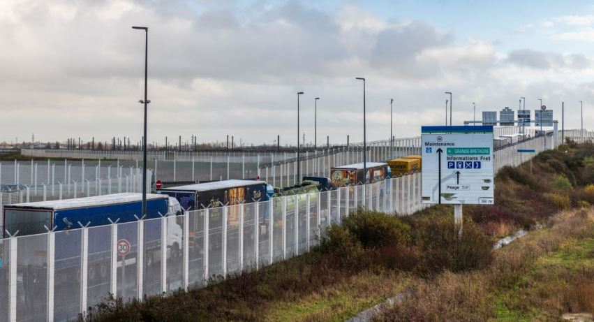brexit reality Calais France line of trucks