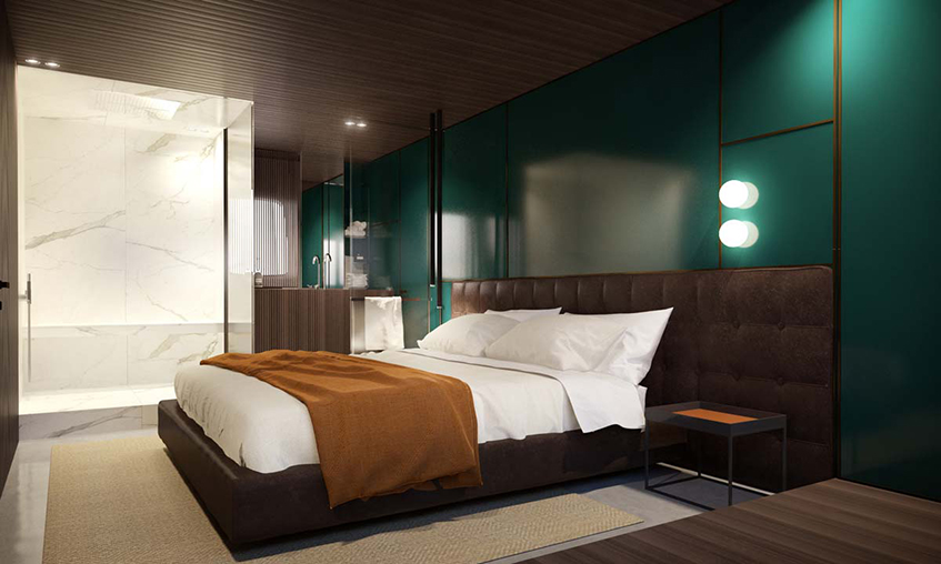 """alt=""""Design sull'acqua - Yacht - Piero Lissoni - Open space -Sanlorenzo - SX88 - Vista master-cabin"""""""