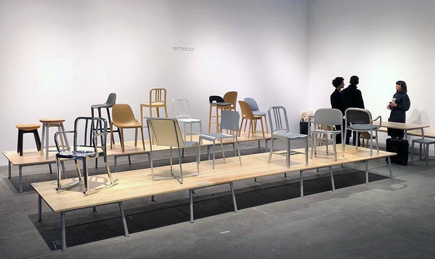 """alt=""""Emeco stand - Stockholm furniture fair light - Design week"""""""