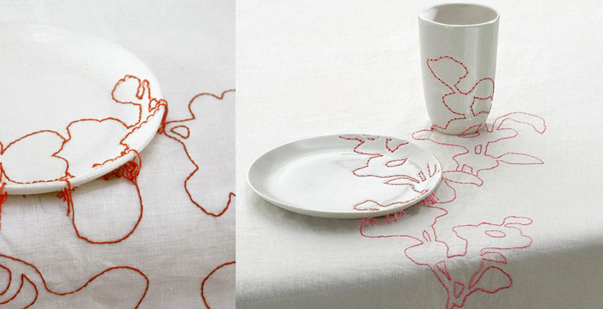 "alt=""Craft and design - Hella Jongerius - Embroided ceramic"""