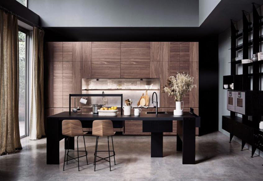 "alt=""Tre stili diversi in cucina - Cesar cucine - Modello intarsio - Work station centrale Williamsburg"""