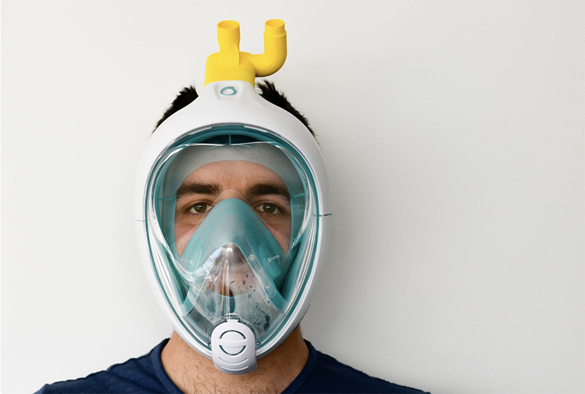 "alt=""Design ai tempi del coronavirus - Maschera Easybreath Dechatlon - Fablab - Ing. Fracassi"""