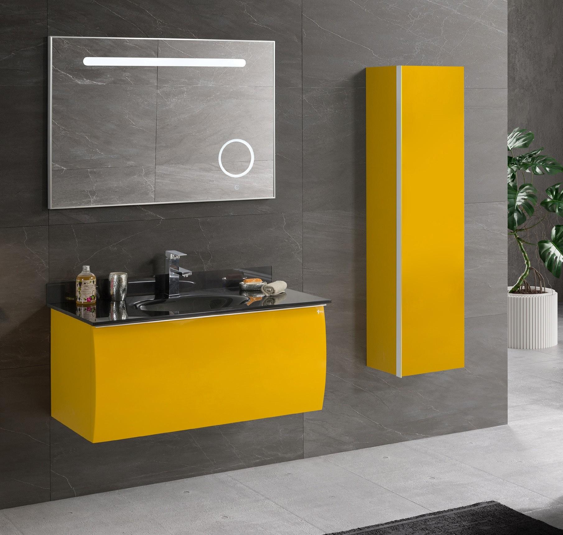 salle de bain laque acrylique jaune