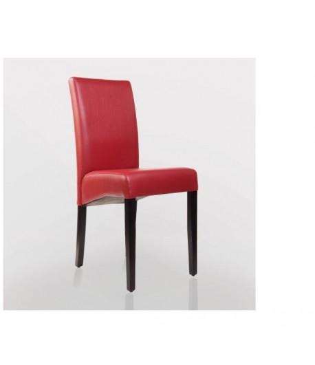 chaise design en bois wenge simili cuir rouge pour cafe restaurant hotel