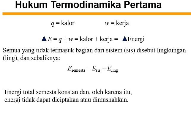 Dalam termodinamika, termodinamika kimia adalah kajian matematika tentang keterkaitan antara kalor dan kerja dengan reaksi kimia atau dengan perubahan. Materi Kuliah Termodinamika Kimia Dasar 2 PPT - MateriKimia