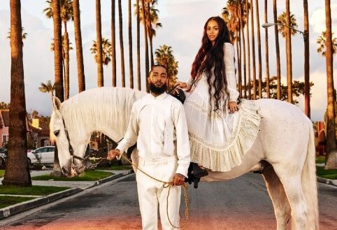 Nipsey Hustle and Lauren London with white horse  Photo credit: Awol Erizku for GQ