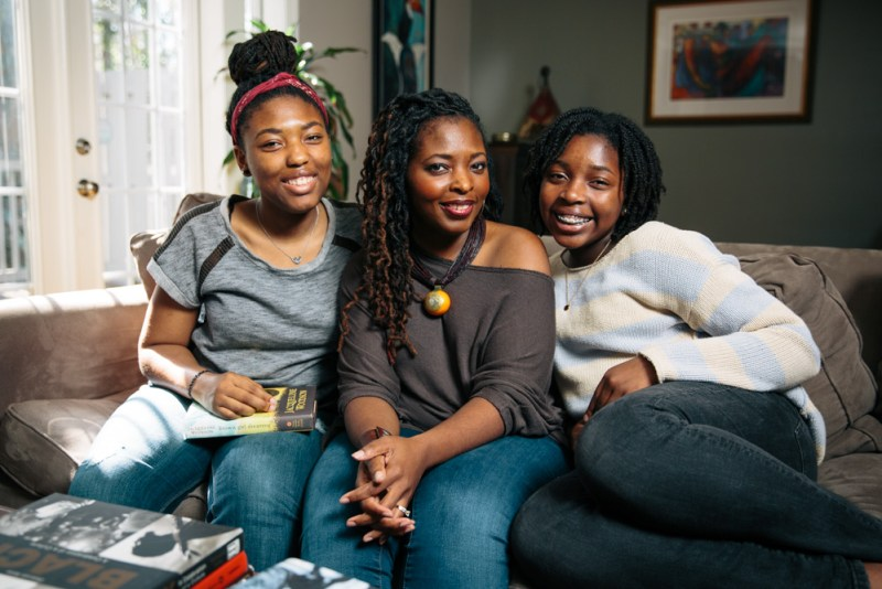Denene Millner with her two daughters