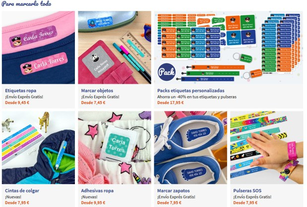 etiquetar ropa de los niños