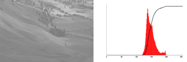 An example of a low-contrast image, with its histogram, before applying histogram equalization.
