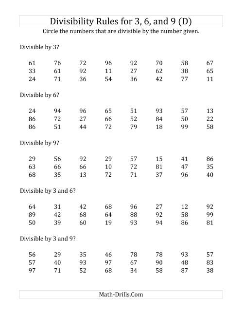 Divisibility Rules For 3 6 And 9 2 Digit Numbers D