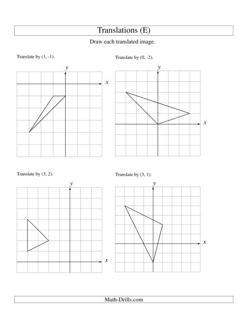 Translation Of 3 Vertices Up To 3 Units E