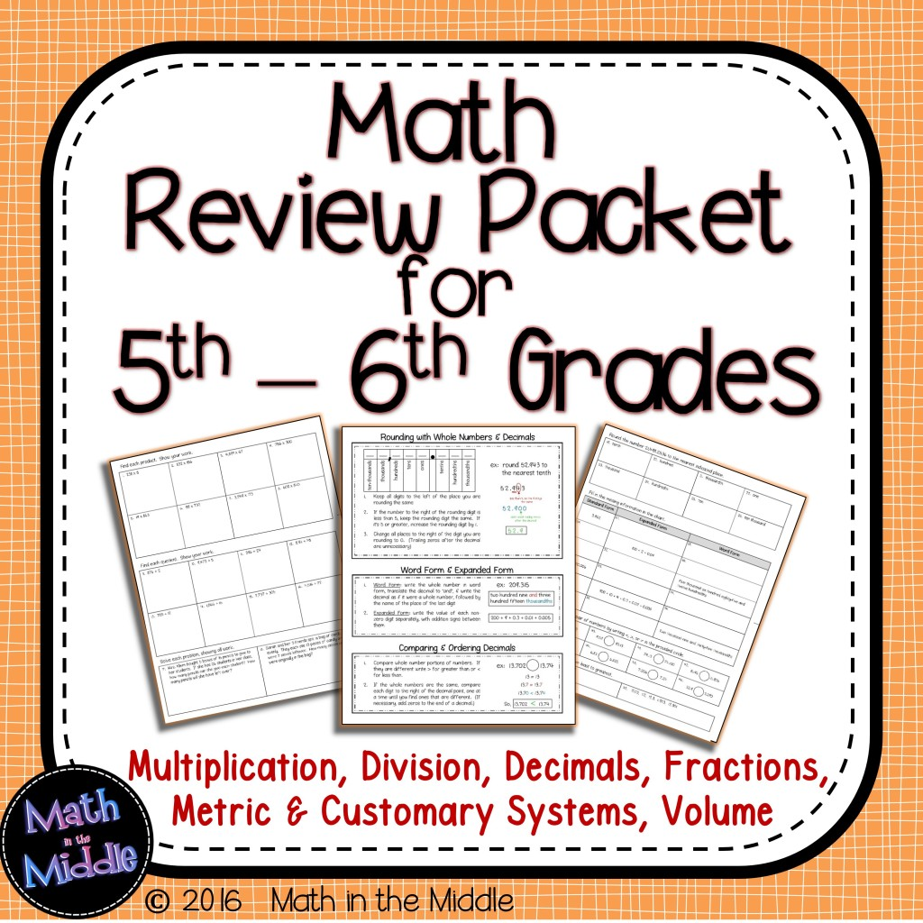 6th Grade Math Homework Packets