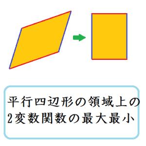 平行四辺形の領域上の2変数関数の最大最小