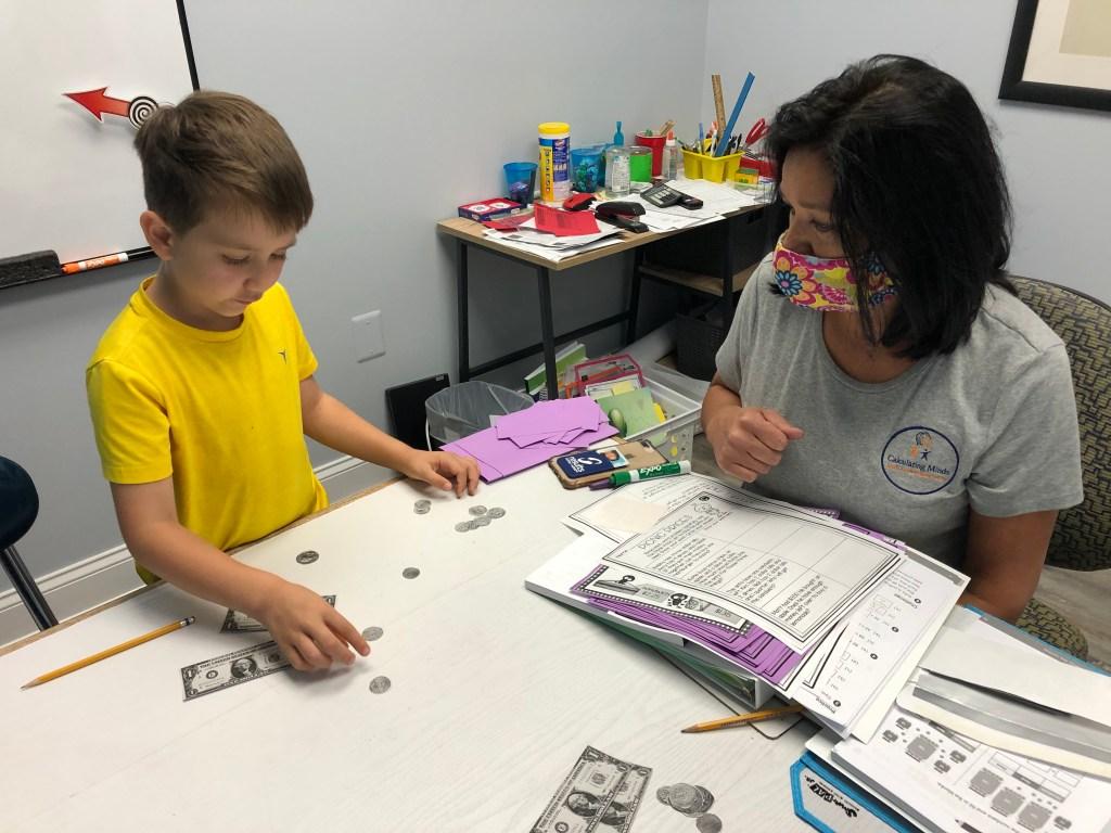 teacher providing math help