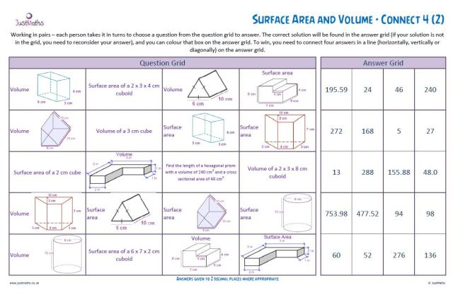 Grade 5 Math Worksheets Volume And Surface Area