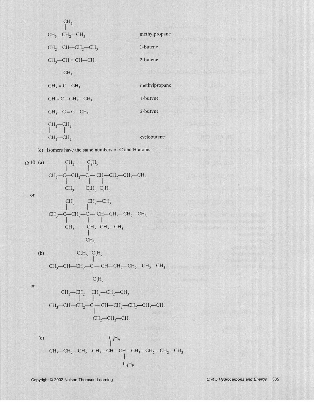 Grade 10 Chemistry Answers
