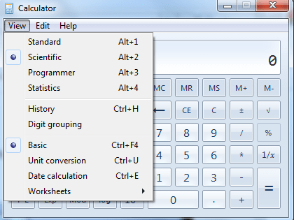 Selecting Scientific Calculator Mode Windows Calc