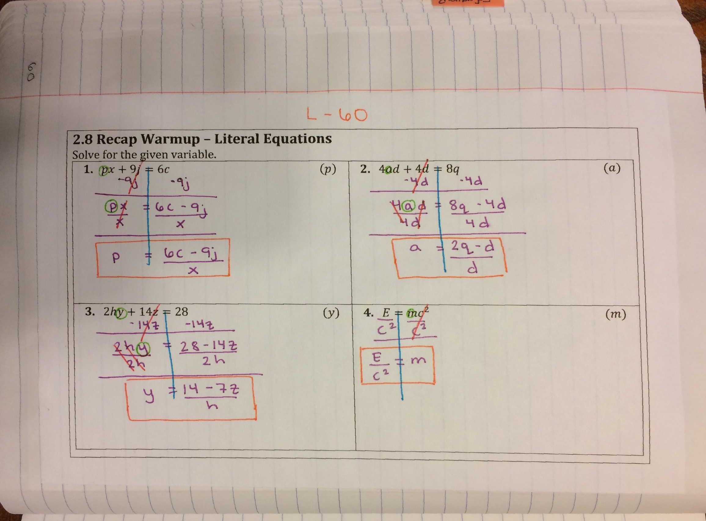 Algebra 1 Unit 3 Interactive Notebook Pages