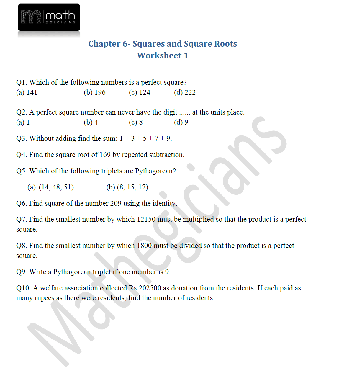 Squares And Square Roots Worksheet 1 Mathegicians