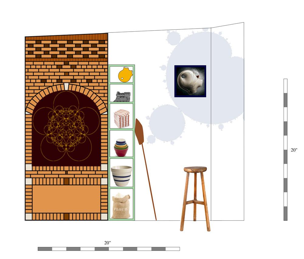 Sketch for backwall in the Mandelbrot bakery, design for decoration of wheel of baker's cart