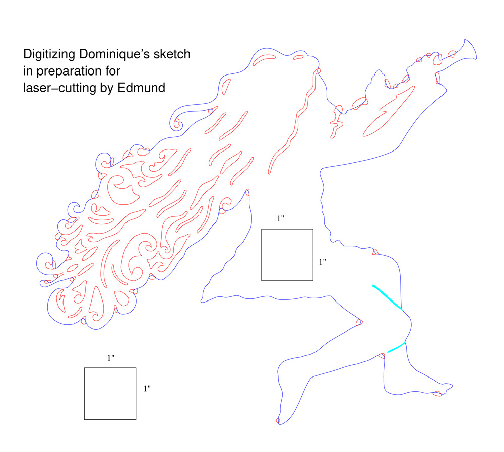 Digitizing Dominique's sketch for laser-cutting by Edmund Harriss