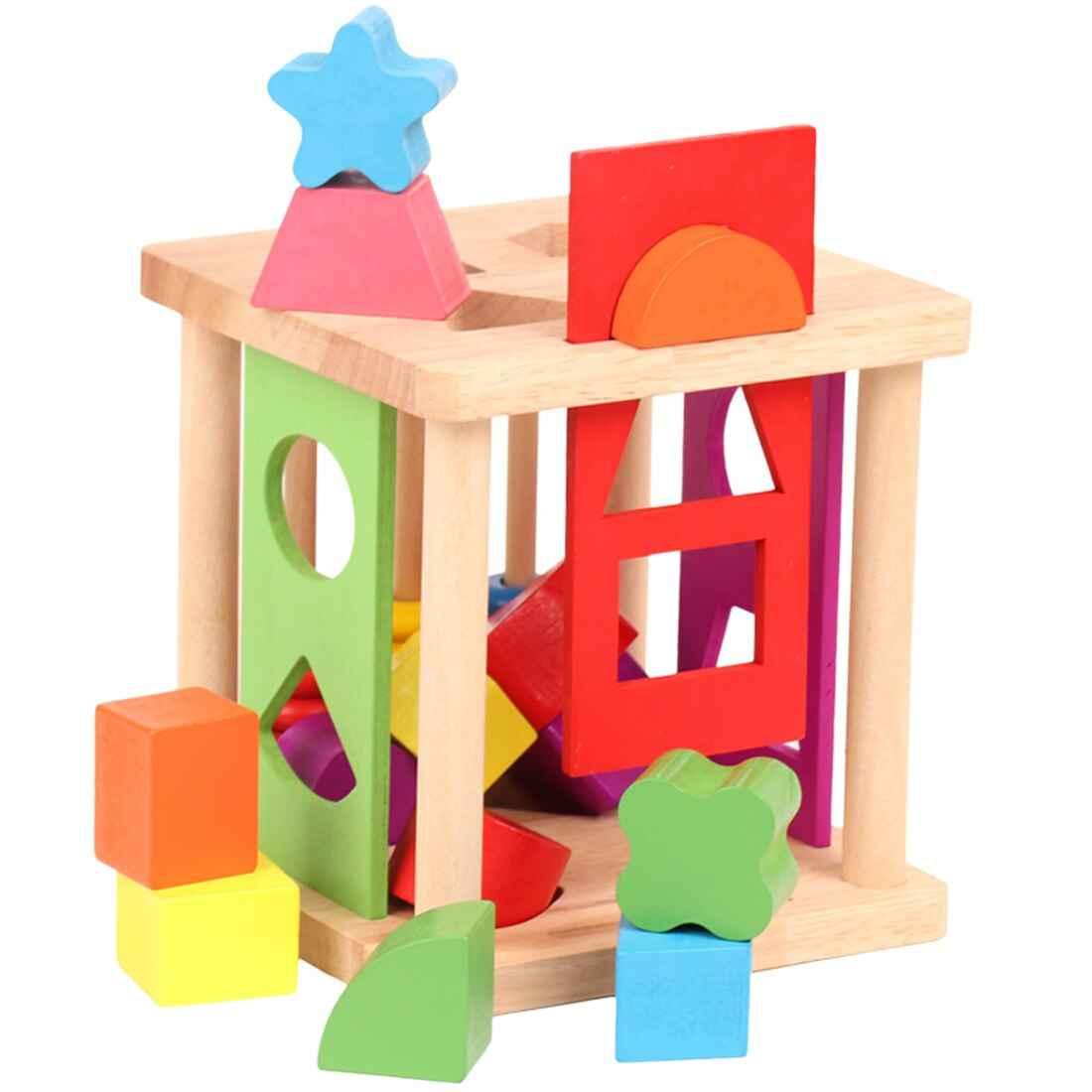 Wooden Shape Matching Building Blocks Match Shape Sorter
