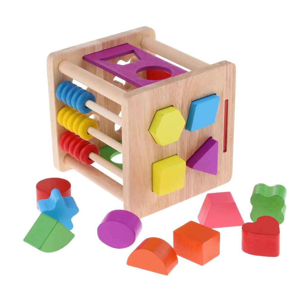 Baby Blocks Shape Sorter Toy Childrens Colorful Shapes