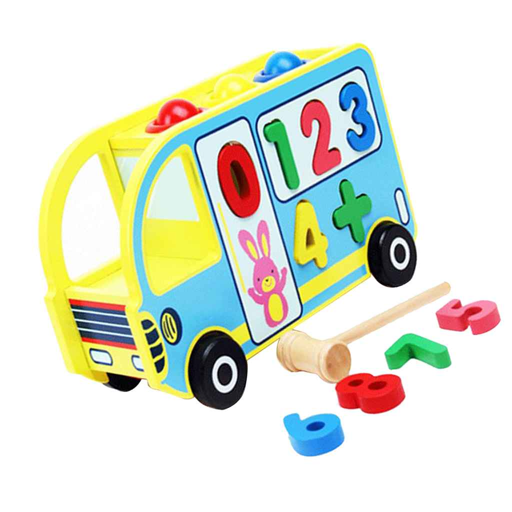 Wooden Numbers Shape Sorter Bus For Toddlers Pounding Toy
