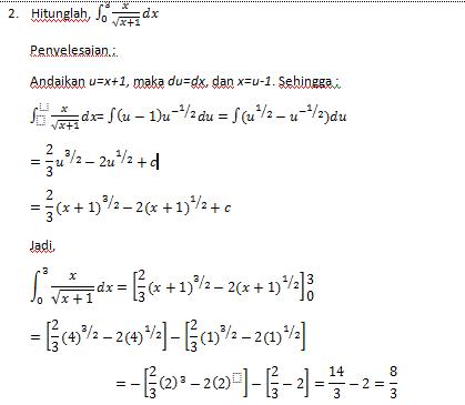 Bagaimanakah penyelesaian bentuk integral tak tentu secara sederhana? Teorema Dasar Kalkulus Mathematic Study Center