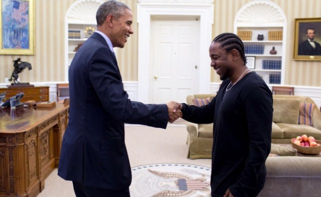Barack Obama e Kendrick Lamar na Casa Branca. Foto: Top Dawg Entertainment.