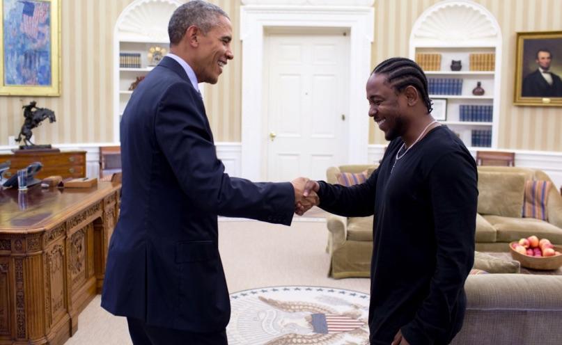 Barack Obama e Kendrick Lamar na Casa Branca. Foto: Top Dawg Entertainment.
