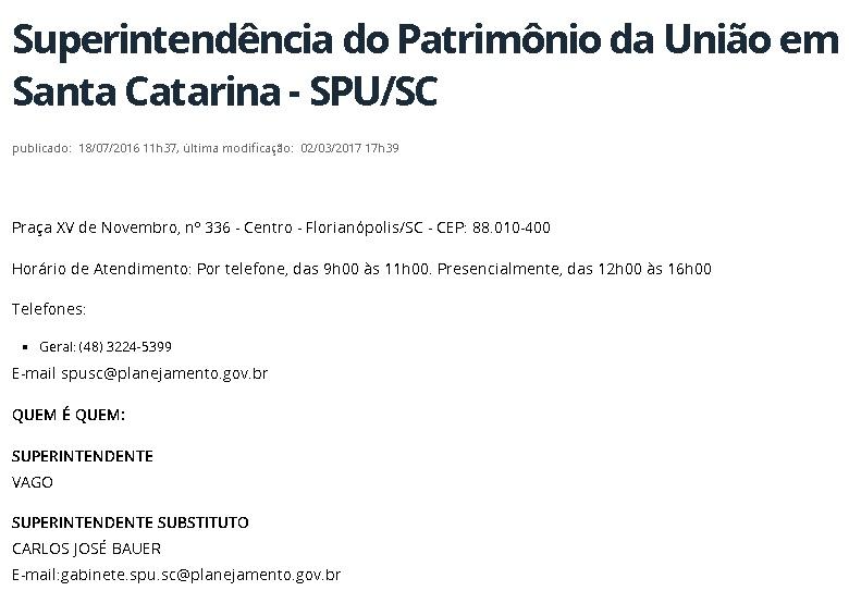 Site da SPU-SC mostra que superintendência está vaga