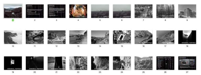 Os thumbnails da apresentação.