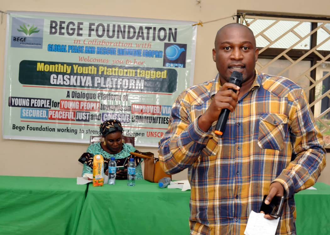 Youths should drive the process for building Peaceful Communities BEGE Foundation 1