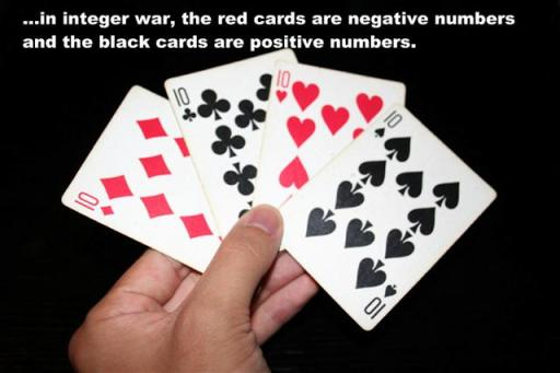 red cards represent negative numbers black cards represent positive numbers
