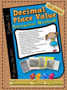 Decimal numbers place value interactive notebook