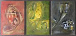 #61 RGB II (Mathias Sager, Oil colors water mixable on wood board, 3 panels each 33.3 x 22.0 x 1.2 cm)