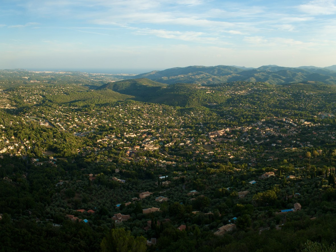 panorama taken from the little village of Cabris with a view all the way down to Cannes, France