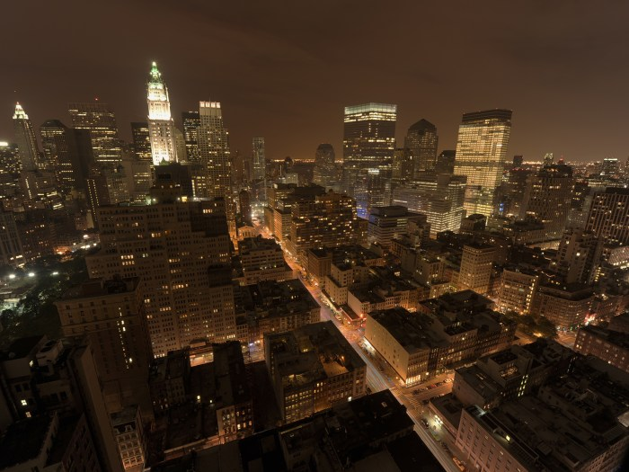 night South view from the top of the TriBeCa towers in downtown New York, USA