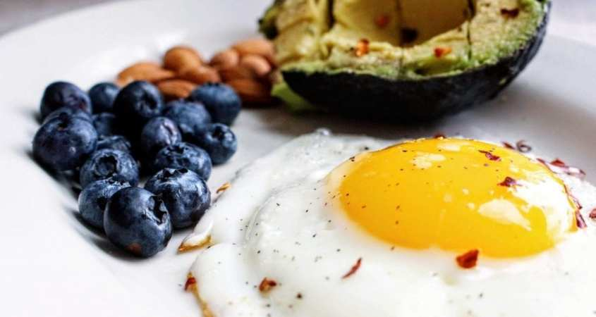 eggs nuts fruit and avocado