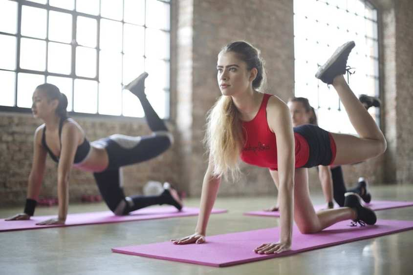 women yoga fitness class