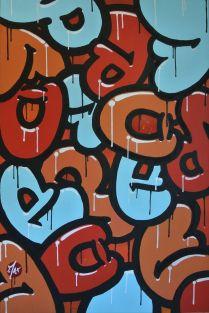 Spraypaint , acrylic and paint marker on a 90 cm/60 cm canvas .